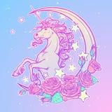 Unicorno pastello del goth con la cartolina d'auguri crescente delle rose e delle stelle Fotografia Stock