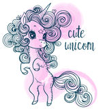 Unicorno rosa di favola del fumetto Fotografia Stock