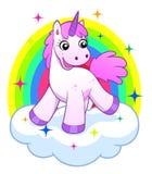 Unicorno rosa sulla nuvola e sull'arcobaleno Fotografia Stock
