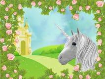 Unicorno in rose Fotografie Stock Libere da Diritti