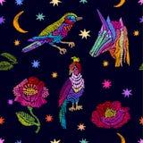Unicorno, stelle, piante ed uccelli Fotografia Stock Libera da Diritti