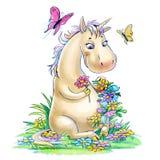 Unicorno su uno schiarimento isolato su bianco Immagine Stock