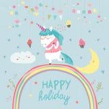 Unicorno sveglio che cammina sull'arcobaleno illustrazione vettoriale