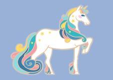 Unicorno sveglio con la criniera variopinta Illustrazione di vettore Immagine Stock Libera da Diritti