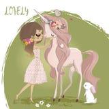 Unicorno sveglio con la ragazza royalty illustrazione gratis