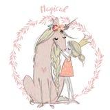 Unicorno sveglio con principessa royalty illustrazione gratis