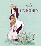 Unicorno sveglio con principessa illustrazione di stock