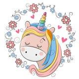 Unicorno sveglio del fumetto con i fiori illustrazione vettoriale