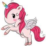 Unicorno sveglio del fumetto su un fondo bianco royalty illustrazione gratis