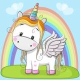 Unicorno sveglio del fumetto sul prato royalty illustrazione gratis