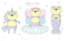 Unicorno sveglio del panda, fatato, sirena royalty illustrazione gratis