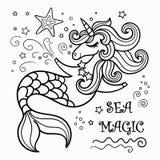 Unicorno sveglio della sirena, libro da colorare royalty illustrazione gratis