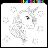 Unicorno sveglio Illustrazione del personaggio dei cartoni animati di vettore Progettazione per la maglietta del bambino Ragazze, fotografia stock
