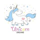 Unicorno sveglio magico nello stile del fumetto Scarabocchii l'unicorno per le carte, i manifesti, le stampe della maglietta, pro Fotografie Stock