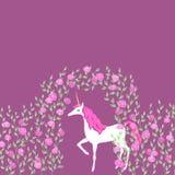 Unicorno in un giardino illustrazione vettoriale