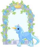 Unicorno vicino alla struttura del fiore Immagini Stock