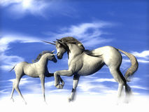 Unicorns Above. A father and son Unicorns shake in agreement Royalty Free Stock Photos