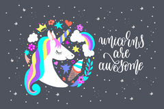 Unicorns are awesome - art poster with unicorn