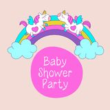 Unicorns. Baby shower illustration. Little cute unicorns with wings on a rainbow. Magical unicorns. Cute design for baby shower. Little unicorns. For Royalty Free Stock Image