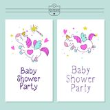 Unicorns. Baby shower illustration. Little cute unicorns with wings. Magical unicorns. Cute design for baby shower. Little unicorns. For registration of a Stock Photos