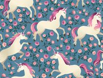 Unicorns on background with a fairy forest. Seamless pattern. Unicorns on background with fairy forest. Seamless pattern stock image