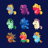Unicorns In Costumes Set Royalty Free Stock Photography