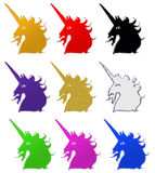 Unicorns in Different Colors Royalty Free Stock Photos