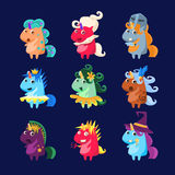 Unicorns In Disguise Set. Of Flat Bright Color Childish Cartoon Design Vector Illustrations Isolated On Dark Background Royalty Free Stock Photography