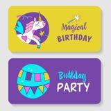 unicorns Ejemplo del feliz cumpleaños stock de ilustración