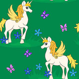 Unicorns in the fairy forest. Fabulous white unicorn. Children's book illustration for the fairy tale. seamless fairy background Royalty Free Stock Photo