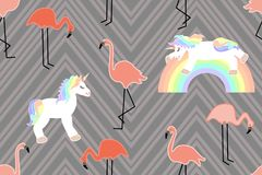 Unicorns and flamingos. royalty free illustration