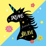 Unicorns Horse Cute Dream Fantasy Cartoon Character Vector Illustration. Design Stock Images