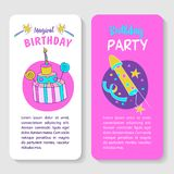 Unicorns. Illustration of happy birthday. Happy birthday! Greeting card. A big beautiful cake with candles and candy. Festive rocket for fireworks Stock Images