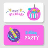 Unicorns. Illustration of happy birthday. Happy birthday! Greeting card. A big beautiful cake with candles and candy. Festive rocket for fireworks Royalty Free Stock Image