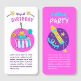 unicorns Illustration von alles Gute zum Geburtstag Stockbilder