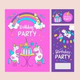 unicorns Illustration von alles Gute zum Geburtstag Lizenzfreie Stockfotografie