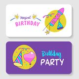 unicorns Illustration von alles Gute zum Geburtstag Lizenzfreie Stockfotos