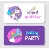 unicorns Illustration von alles Gute zum Geburtstag Stockfotografie