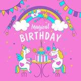 unicorns Illustration von alles Gute zum Geburtstag Lizenzfreie Stockbilder