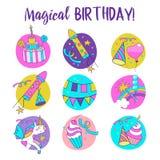 unicorns Illustration von alles Gute zum Geburtstag Stockfoto