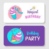 unicorns Illustration von alles Gute zum Geburtstag Stockfotos