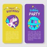 unicorns Illustration von alles Gute zum Geburtstag Lizenzfreies Stockfoto
