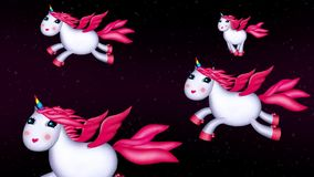 Unicorns night flight in romantic landscape. Four white and pink cartoon unicorns are flying in the skies at night. Long seamless loop. Good for background vector illustration