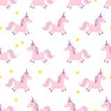 unicorns också vektor för coreldrawillustration seamless modell Regnbågeenhörningar på färgrik bakgrund gullig wallpaper Arkivbilder