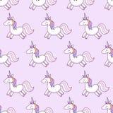 unicorns också vektor för coreldrawillustration seamless modell Regnbågeenhörningar på färgrik bakgrund gullig wallpaper Arkivfoto