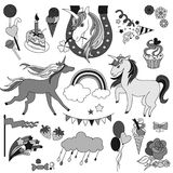 Unicorns with rainbow, clouds and flags in black  white. Hand-drawn elements rainbow, unicorn, cloud, cake, sweets, flower, strawberry, ice-cream, flag for Stock Images