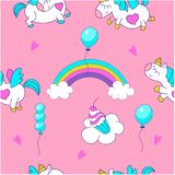 Unicorns and rainbow. Seamless pattern. Magical unicorns. Seamless pattern. Suitable for printing on textile, wrapping paper. Cute design for a children`s party Royalty Free Stock Photo