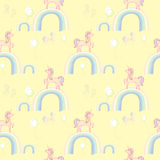 Unicorns rainbows wallpaper Stock Photo