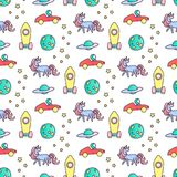Unicorns, rockets and astronaut in car seamless vector pattern. Stock Images