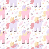 Unicorns seamless pattern (pastel colors) vector Stock Photos